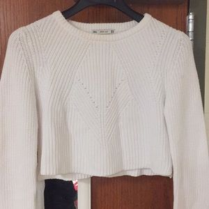 white knit cropped sweater